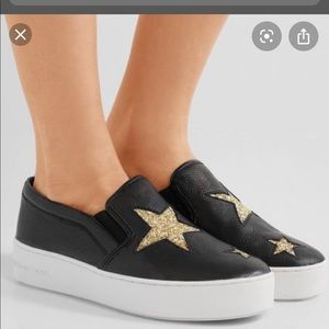 Michael Kors Black Pia Star Slip On Sneakers